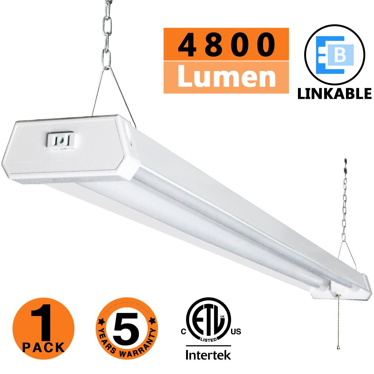 LED Shop Light, 4FT 4800LM, 42W 5000K Daylight White